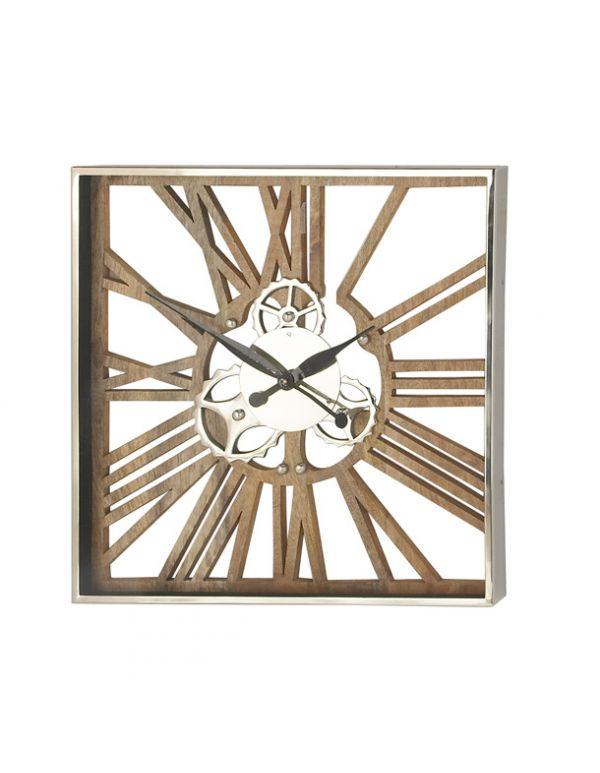 Reloj de Pared de Metal y Madera Gde