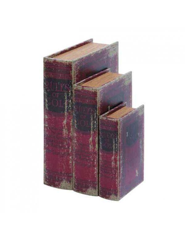 Libros Cajas, Madera y Piel S/3