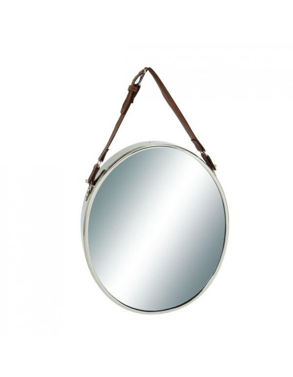 "Steel Leather Wall Mirror 14""W, 25""H"