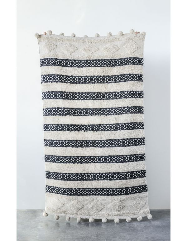 Tapete tejido en algodón pompones negro/crema