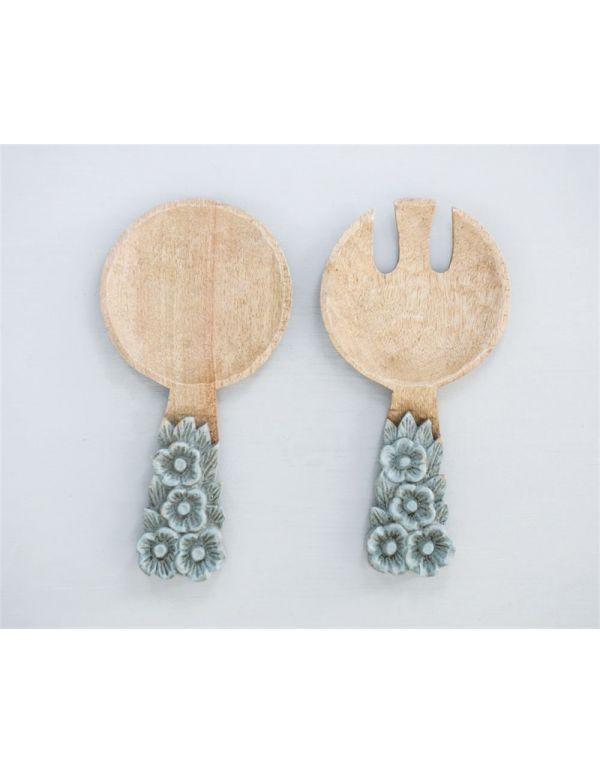 "Servidores de ensalada de madera de mango tallado a mano, 10-1 / 4 ""L, juego de 2"