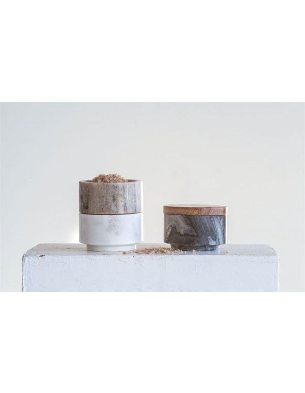 """Palancas de sujeción apilables de mármol de 3 """"redondas x 4-1 / 2"""" Alt. Con tapa de madera de acacia, juego de 3"""