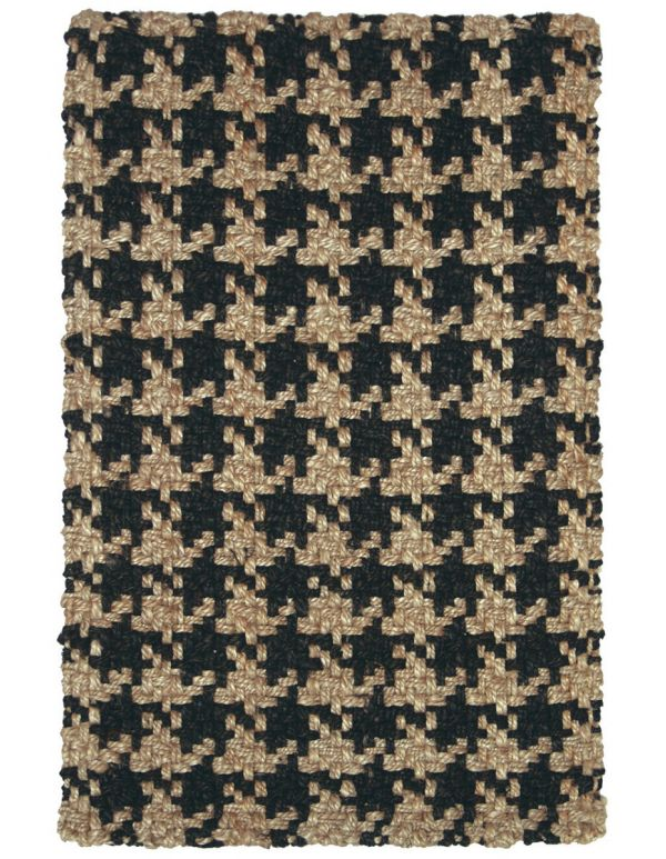Tapete tejido Chevron negro 2x3