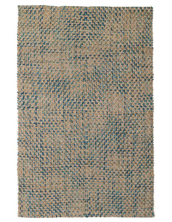 Tapete tejido diamante azul marino/turquesa Ladera 2x3