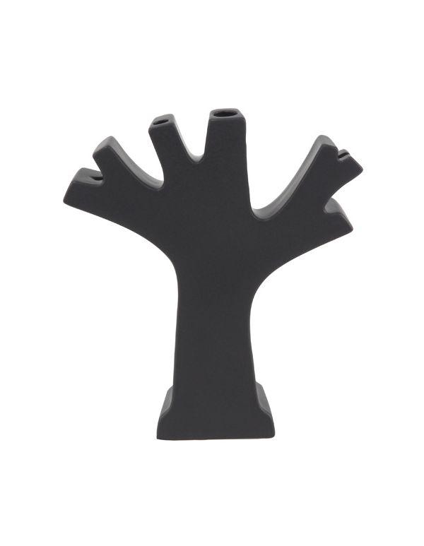 Florero de Ceramica en forma de arbol color negro