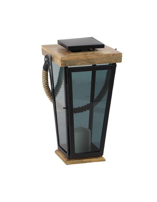Linterna de Vidrio Opaco y Madera Gde
