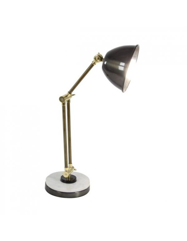 "MTL MRBL DESK LAMP 13""W, 21""H"