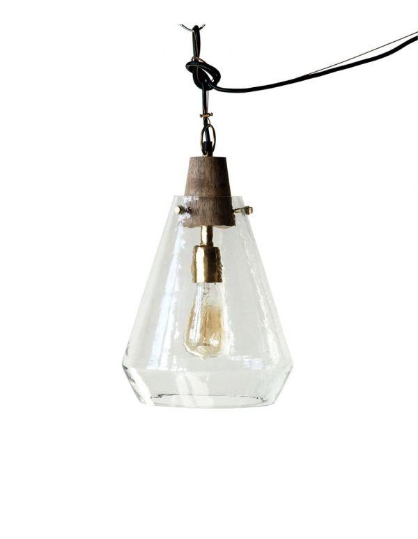 """Lámpara de madera de 10 """"redonda x 14-1 / 4"""" Alt. Y vidrio soplado a mano (40 vatios máximo de bombilla, solo cableado)"""