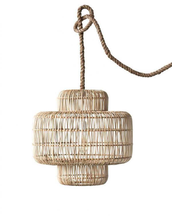 """Lámpara colgante de mimbre de 20-3 / 4 """"redonda x 19-3 / 4"""" H, cable de cuerda de 6 '(máximo de bombilla de 60 vatios, solo cable)"""