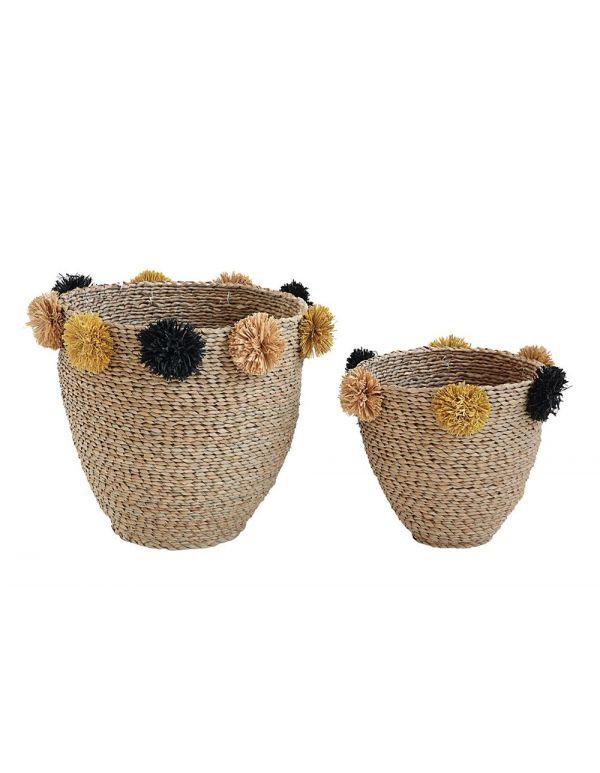 """Juego de 2 cestas de pasto marino natural de 15-3 / 4 """"H y 11-3 / 4"""" Alt. Con pompones amarillos y negros"""