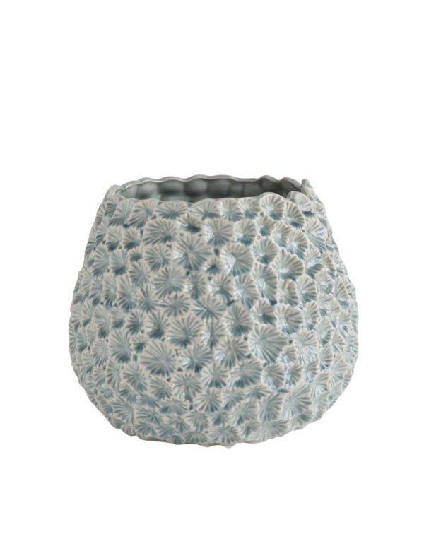 """Macetero de cerámica redondo de 12 """"x 9-3 / 4"""" Alt., Azul claro con textura"""