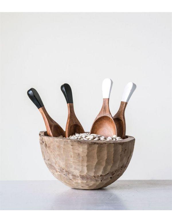 "Servidores de ensalada de madera tallada a mano, 10-1 / 2 ""L, 2 colores, juego de 2"
