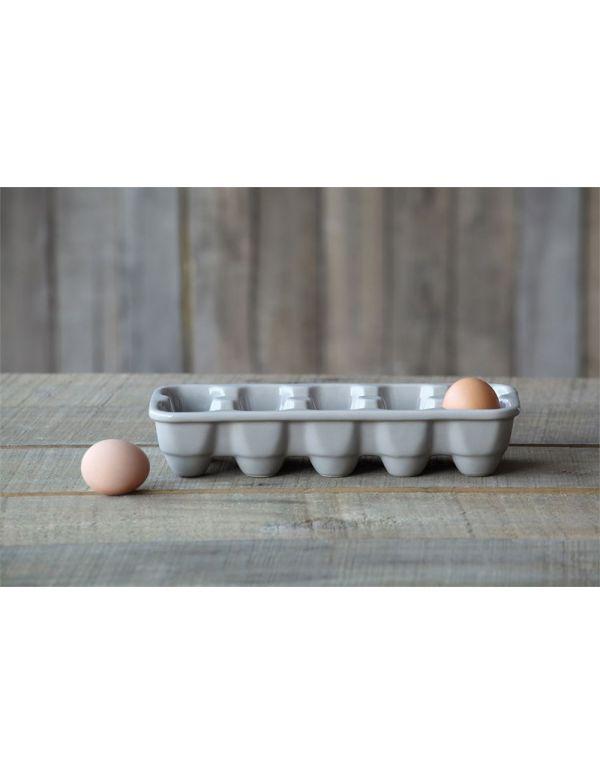 """Soporte para huevo de gres de 11 """"de largo x 4-1 / 2"""" de ancho, gris"""