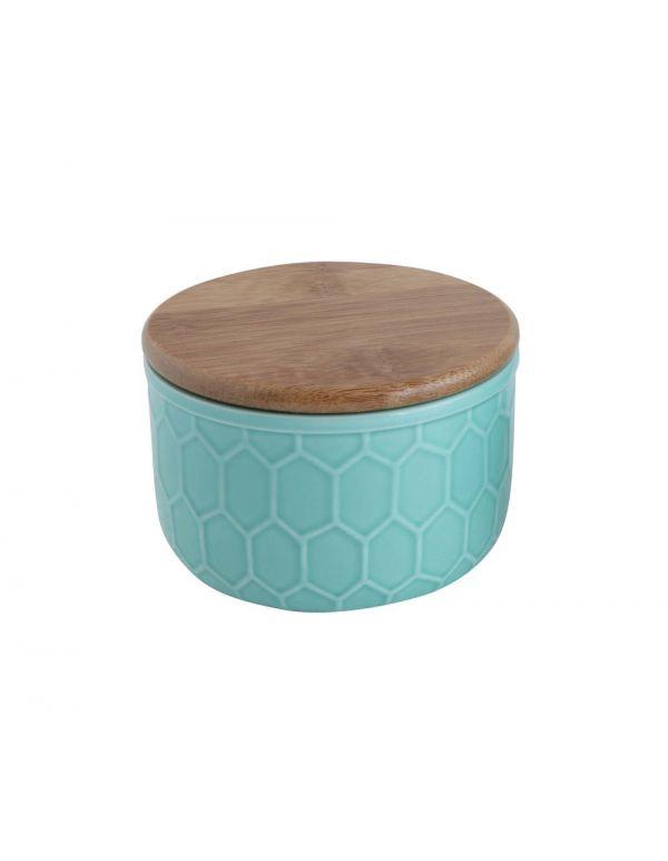 """Recipiente de gres de 4 """"redondo x 2-3 / 4"""" Alt. Con tapa de bambú, diseño hexagonal, agua"""
